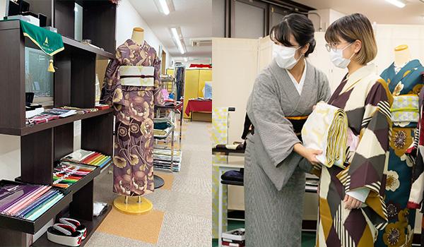 「京都きもの町」の商品を実際に手に取って見られる