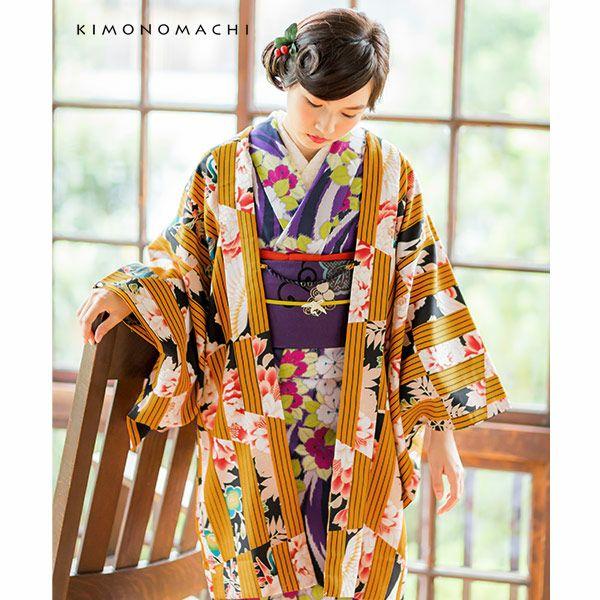 京都きもの町オリジナル 羽織単品「金茶色変わり縞」S、F、TL、LL 洗える羽織 女性羽織 レトロ ポリエステル アンティーク調