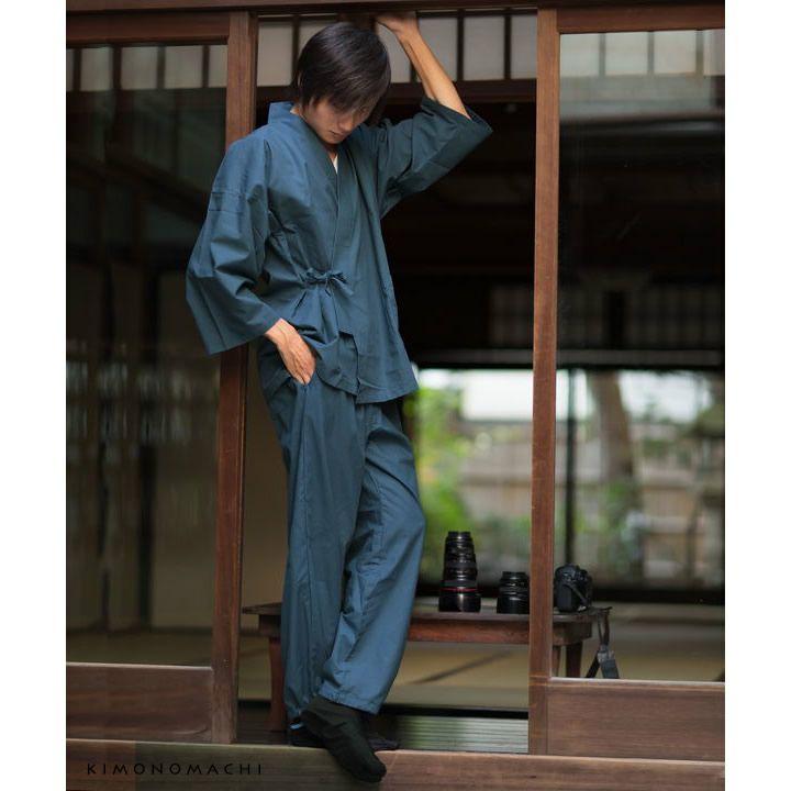作務衣「黒、茶、青、赤」全4色 サイズ:S M L LL 4サイズ さむえ SAMUE 上下セット