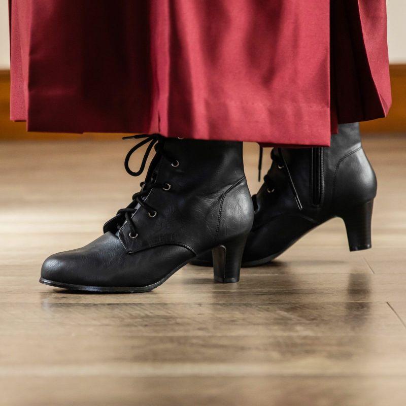 袴 ブーツ ショート 「卒業式の袴に履き心地良い袴ブーツ」S/M/L/LL/3L 小さいサイズから大きいサイズまで ショート丈ブーツ レースアップブーツ 卒業式 袴 ブーツ 黒 ブラック 22.0 22.5 23.0 23.5 24.0 24.5 25.0 26.0 <R>【メール便不可】